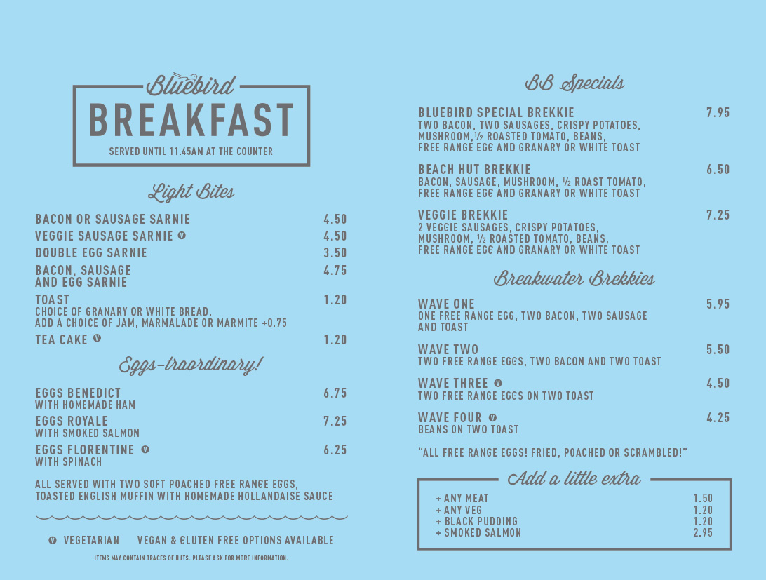 The Blue Bird Ferring | Breakfast Menu